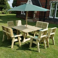 Product photograph showing Erog Wooden 8 Seater Dining Set With Chairs And Parasol