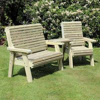 Product photograph showing Erog Wooden Outdoor Angled Bench And Chair Seating Set