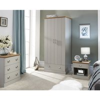Product photograph showing Ervin Wooden 3pc Bedroom Furniture Set In Grey
