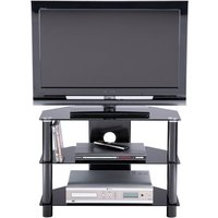 Product photograph showing Essentials Glass Tv Stand In Black With 3 Shelves