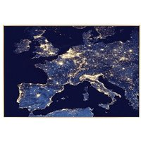 Product photograph showing Europe City Lights Glass Wall Art