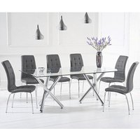 Product photograph showing Evonis Large Glass Dining Table With 8 Grey Leather Chairs