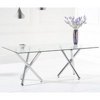 Product photograph showing Evonis Large Rectangular Glass Dining Table With Chrome Legs