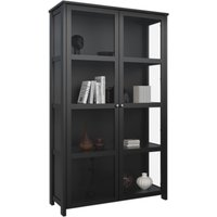 Product photograph showing Excellent Wooden Display Cabinet In Black With 2 Glass Doors