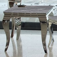 Product photograph showing Fabien Marbled Glass Lamp Table In Grey