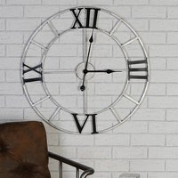 Product photograph showing Factory Metal Wall Clock In Silver And Anthracite