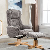 Product photograph showing Fairlop Fabric Swivel Recliner Chair And Footstool In Latte