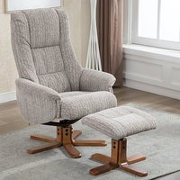 Product photograph showing Fairlop Fabric Swivel Recliner Chair And Footstool In Wheat