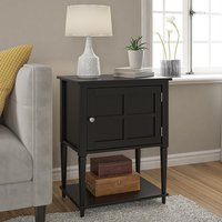 Product photograph showing Fairmont Wooden 1 Door Side Table In Black