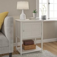 Product photograph showing Fairmont Wooden 1 Door Side Table In Off-white