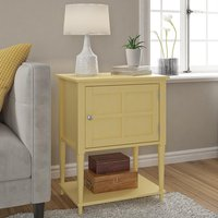 Product photograph showing Fairmont Wooden 1 Door Side Table In Yellow
