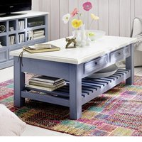 Falcon Coffee Table In Pine Wood In Blue And White