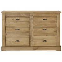 Product photograph showing Falkirk Wide Chest Of Drawers In Pine With 6 Drawers