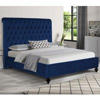 Fallston Plush Velvet Single Bed In Blue