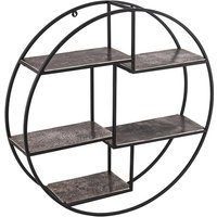 Product photograph showing Farron Circular Wall Hung Bookcase With Multi Shelf In Silver