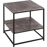 Product photograph showing Farron Metal Side Tables In Silver With Undershelf