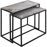 Product photograph showing Farron Set Of 2 Metal Side Tables In Silver
