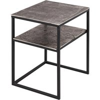 Product photograph showing Farron Small Metal Side Tables In Silver With Undershelf