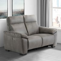 Product photograph showing Farrow Fabric Electric Recliner 2 Seater Sofa In Grey