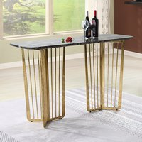 Product photograph showing Fastro Black Marble Console Table With Gold Stainless Steel Legs