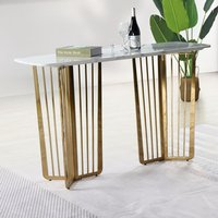 Product photograph showing Fastro White Marble Console Table With Gold Stainless Steel Legs