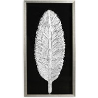 Product photograph showing Feather Painting Wooden Wall Art In Antique Silver Frame
