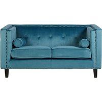 Product photograph showing Felisen Velvet Upholstered 2 Seater Sofa In Blue