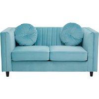 Product photograph showing Felisen Velvet Upholstered 2 Seater Sofa In Midnight Green