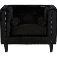 Product photograph showing Felisen Velvet Upholstered Armchair In Black