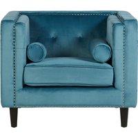 Product photograph showing Felisen Velvet Upholstered Armchair In Blue