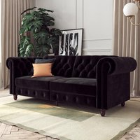 Felix Chesterfield Velvet Upholstered Sofa Bed In Black