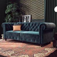 Felix Chesterfield Velvet Upholstered Sofa Bed In Blue