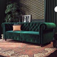 Felix Chesterfield Velvet Upholstered Sofa Bed In Green