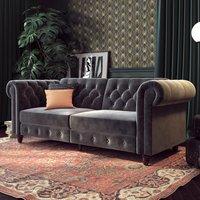 Felix Chesterfield Velvet Upholstered Sofa Bed In Grey