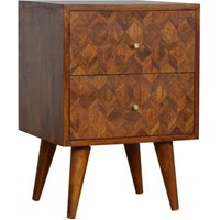 Felix Wooden Bedside Cabinet In Chestnut With 2 Drawers