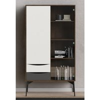 Product photograph showing Felton 2 Doors And 2 Drawers Display Cabinet In Grey And Walnut