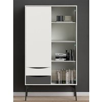 Product photograph showing Felton 2 Doors And 2 Drawers Display Cabinet In Grey And White
