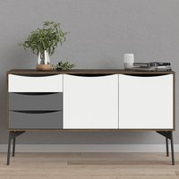 Product photograph showing Felton Wooden 2 Doors 3 Drawers Sideboard In Grey Walnut
