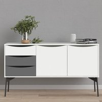 Product photograph showing Felton Wooden 2 Doors 3 Drawers Sideboard In Grey White