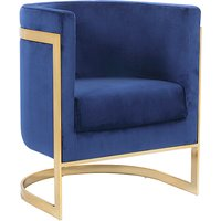 Product photograph showing Fenda Velvet Armchair In Blue With Gold Stainless Steel Legs