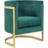 Product photograph showing Fenda Velvet Armchair In Green With Gold Stainless Steel Legs