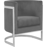 Product photograph showing Fenda Velvet Armchair In Grey With Silver Stainless Steel Legs