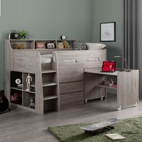 Product photograph showing Fenton Midsleeper Children Bed In Grey Oak With Storage And Desk