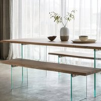 Ferndale Dining Bench In Oak With Glass Stand