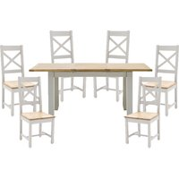 Ferndale Extending Large Dining Table With 6 Cross Back Chairs
