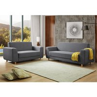 Product photograph showing Fida Fabric 2 Seater And 3 Seater Sofa Suite In Dark Grey