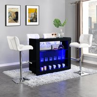 Product photograph showing Fiesta Black High Gloss Bar Table With 4 Candid White Stools