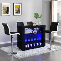 Product photograph showing Fiesta Black High Gloss Bar Table With 4 Ritz Black White Stools