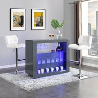 Product photograph showing Fiesta Grey High Gloss Bar Table With 2 Candid White Stools