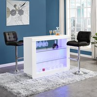 Product photograph showing Fiesta White High Gloss Bar Table With 2 Candid Black Stools